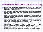 fertiliser availability for kharif 2005