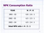 npk consumption ratio