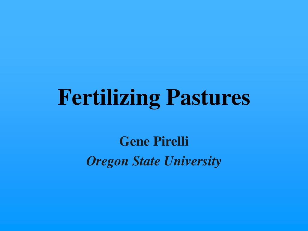 fertilizing pastures l.