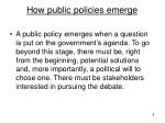 how public policies emerge