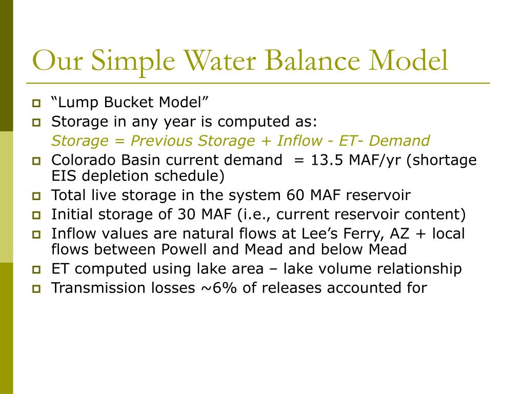 Our Simple Water Balance Model