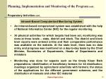 planning implementation and monitoring of the program cont