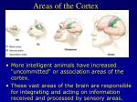 areas of the cortex