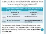 is snmes hazardous for stroke patients with severe upper limb impairment church et al 2006
