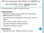 rct to evaluate the effect of snmes to the shoulder after acute stroke church c et al 2006