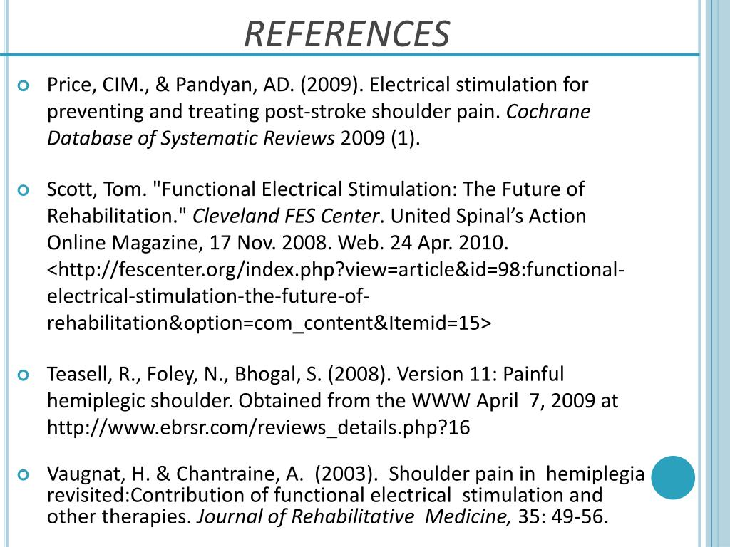 PPT - FES FOR THE PAINFUL HEMIPLEGIC SHOULDER PowerPoint