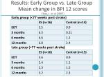 results early group vs late group mean change in bpi 12 scores chae j et al 2007