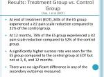 results treatment group vs control group chae j et al 2007