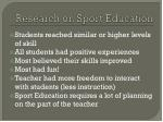 research on sport education