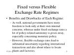 fixed versus flexible exchange rate regimes13