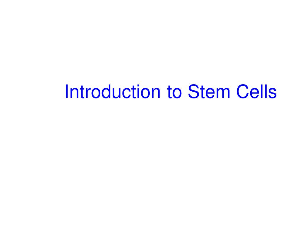 introduction to stem cells l.