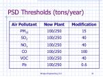 psd thresholds tons year