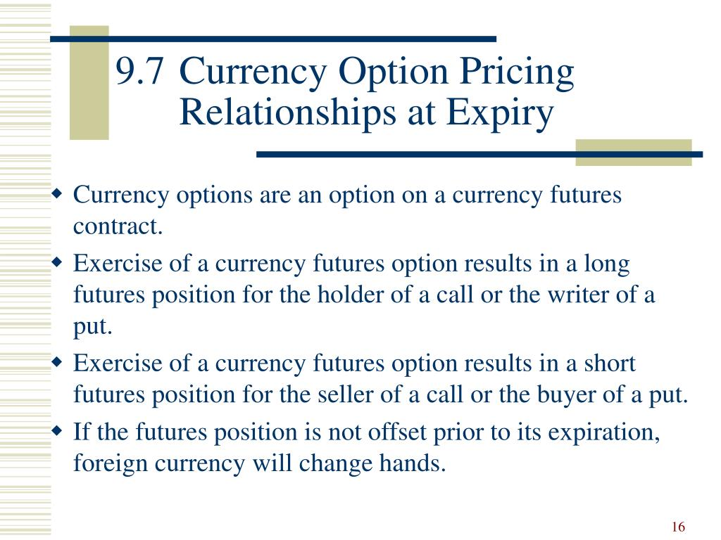 9.7	Currency Option Pricing 	Relationships at Expiry
