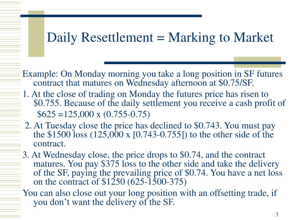 Daily Resettlement = Marking to Market