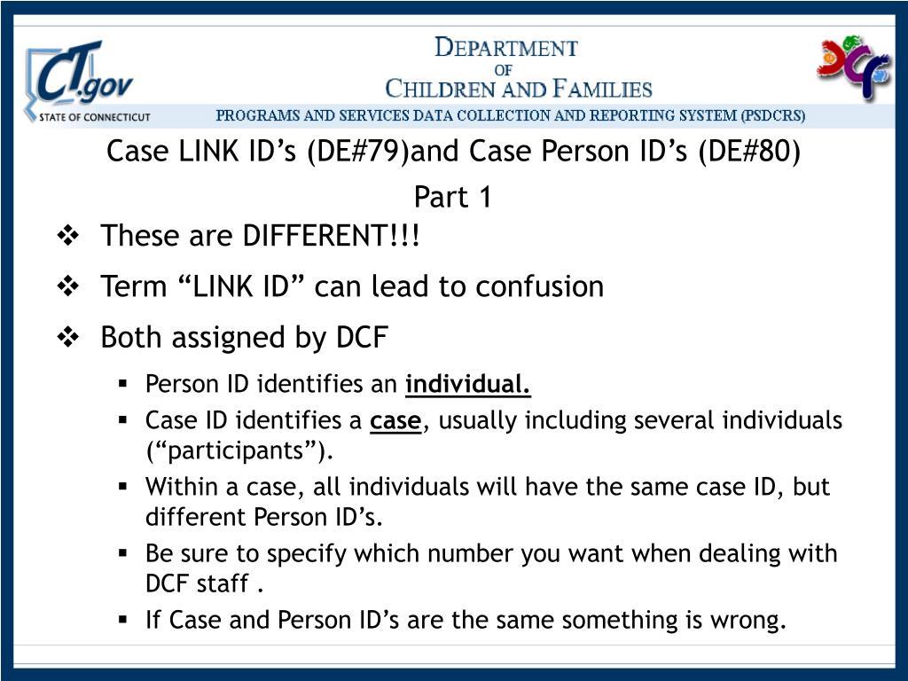 Case LINK ID's (DE#79)and Case Person ID's (DE#80)