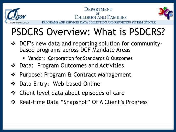 Psdcrs overview what is psdcrs