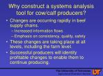 why construct a systems analysis tool for cow calf producers