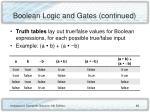 boolean logic and gates continued