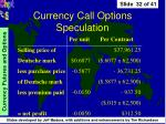currency call options speculation