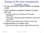 design of the core components crawler class