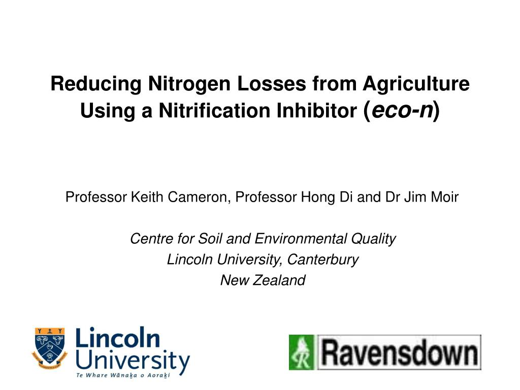 reducing nitrogen losses from agriculture using a nitrification inhibitor eco n l.