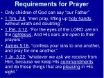 requirements for prayer