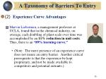 a taxonomy of barriers to entry26