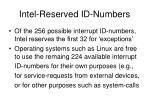 intel reserved id numbers