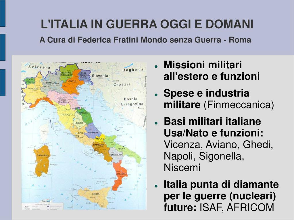 L'ITALIA IN GUERRA OGGI E DOMANI