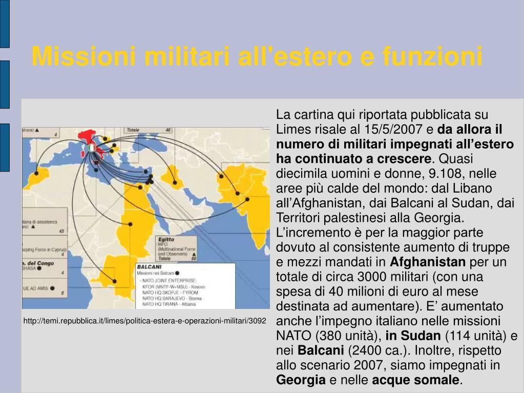 Missioni militari all'estero e funzioni