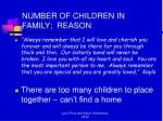 number of children in family reason