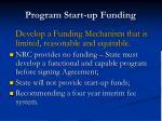 program start up funding