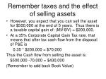 remember taxes and the effect of selling assets