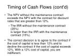 timing of cash flows cont d29