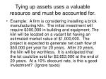tying up assets uses a valuable resource and must be accounted for