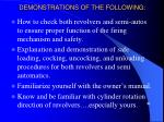 demonstrations of the following