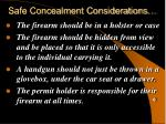 safe concealment considerations