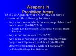 weapons in prohibited areas