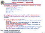 defense economics summary impact on military capabilities