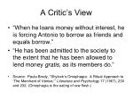 a critic s view