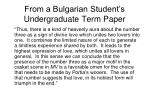 from a bulgarian student s undergraduate term paper