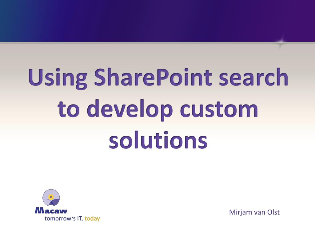 using sharepoint search to develop custom solutions l.