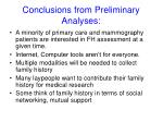 conclusions from preliminary analyses