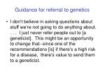 guidance for referral to genetics