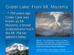 crater lake from mt mazama