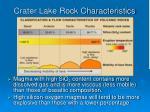 crater lake rock characteristics