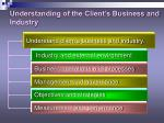 understanding of the client s business and industry