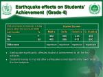 earthquake effects on students achievement grade 4