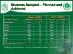students sampled planned and achieved