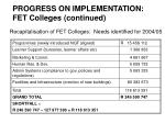 progress on implementation fet colleges continued20